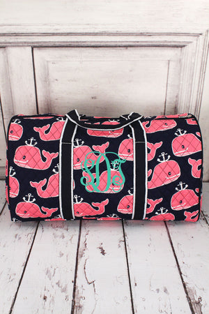 "Whale Hello There Quilted Duffle Bag 21"" #NWH2626-NAVY"