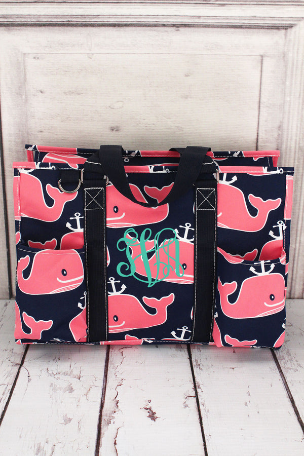 Whale Hello There Utility Tote with Navy Trim #NWH731-NAVY