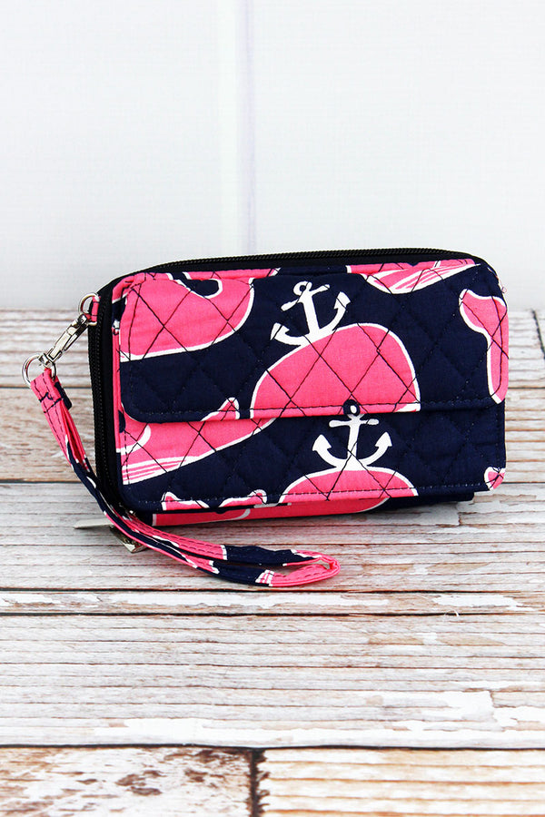 Whale Hello There Quilted Crossbody Organizer Clutch