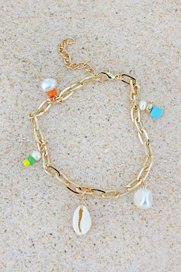Cowrie Shell and Bead Charm Goldtone Chain Anklet