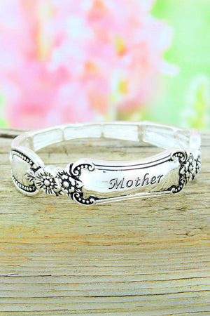 Antique Silvertone Mom Flourish Spoon Bracelet #OB06453-AS