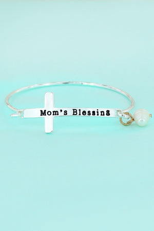 Antique Silvertone 'Mom's Blessing' Cross Bracelet