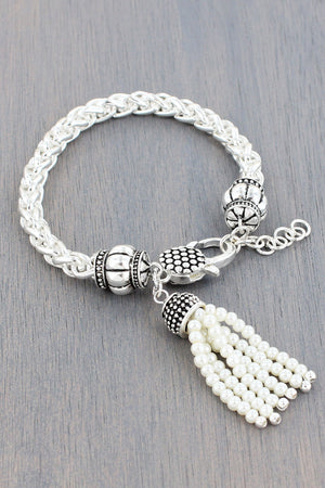 Silvertone Dot Textured and Pearl Tassel Charm Chain Bracelet