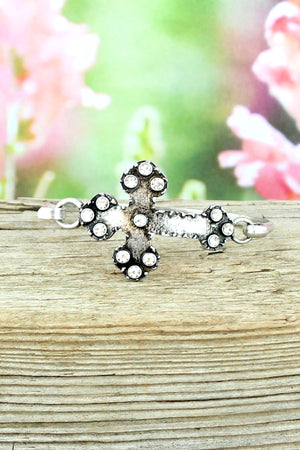 Crystal Accented Burnished Silvertone Cross Bracelet