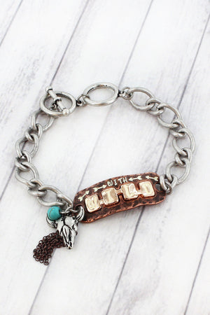 White Patina Coppertone 'Wild' Longhorn Charm Toggle Bracelet