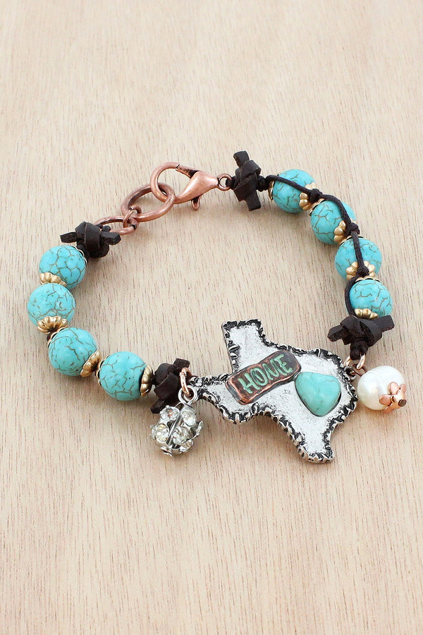 Burnished Silvertone and Turquoise 'Home' Texas Beaded Bracelet