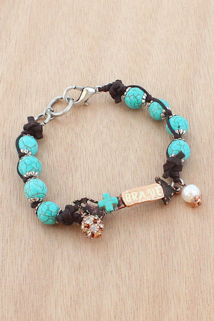 Worn Coppertone and Turquoise 'Brave' Arrow Beaded Bracelet