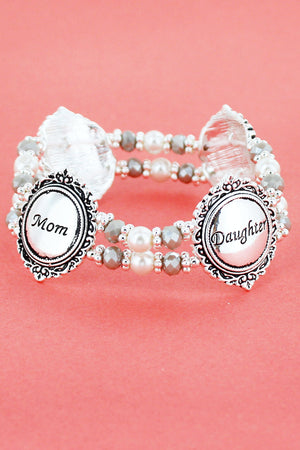 Antique Silvertone 'Mom and Daughter' Pearl Beaded Stretch Bracelet