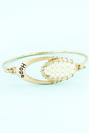 Worn Goldtone with Pearl Beads 'Hope' Oval Bracelet