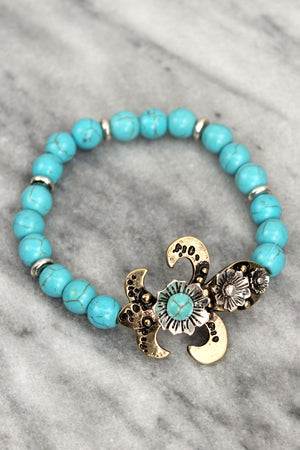 Burnished Two-Tone and Turquoise Bead Fleur de Lis Stretch Bracelet