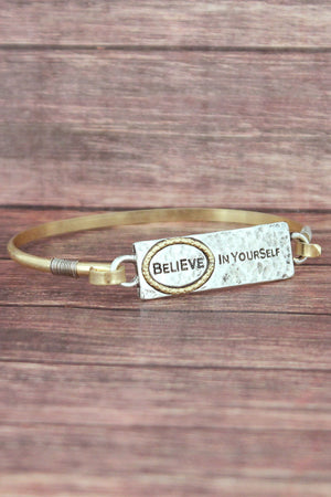 Silvertone and Goldtone 'Believe In Yourself' Bracelet