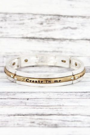 Worn Two-Tone and Crystal 'Create In Me' Stretch Bracelet