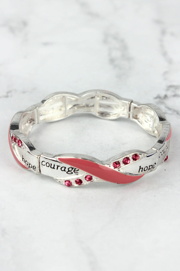 Silvertone and Pink Crystal 'Courage Hope' Pink Ribbon Stretch Bracelet