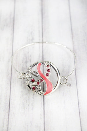 Silvertone and Pink Crystal 'Hope' Pink Ribbon Bracelet