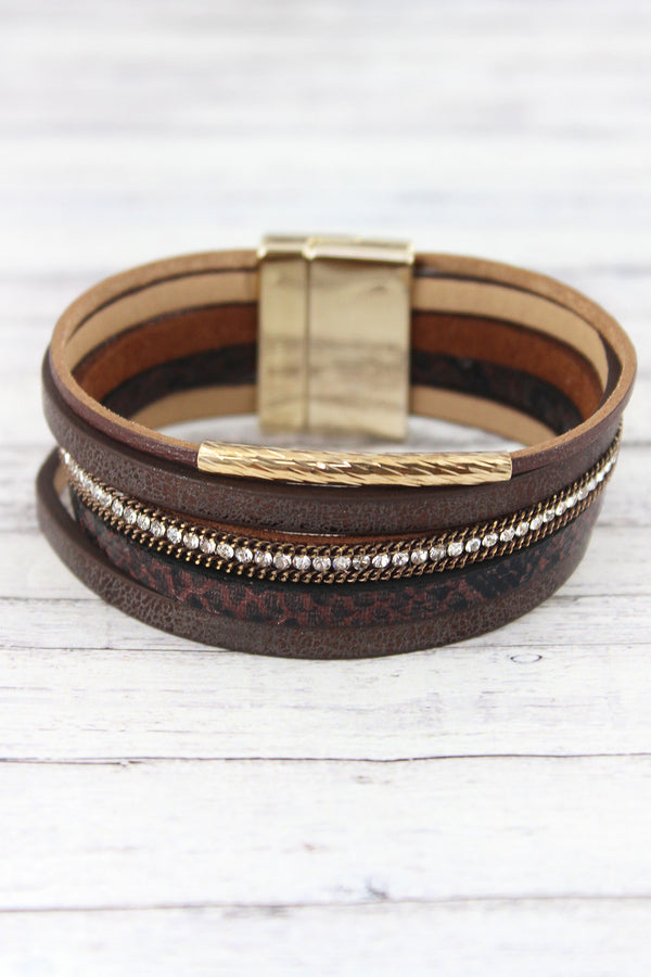 Metallic Brown and Goldtone Bar Multi-Strand Magnetic Bracelet