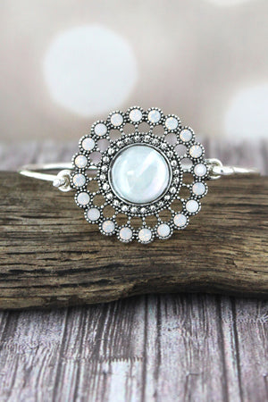 Mother of Pearl and Crystal Accented Silvertone Disk Bracelet