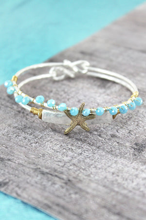 Silvertone with Goldtone Starfish and Blue Bead Bangle Set