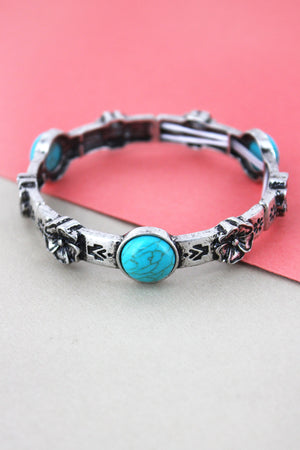 Western Turquoise Bead and Burnished Silvertone Flower Bracelet