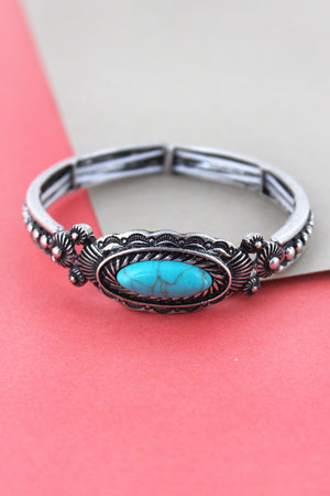 Burnished Silvertone and Turquoise Bead Western Oval Medallion Bracelet