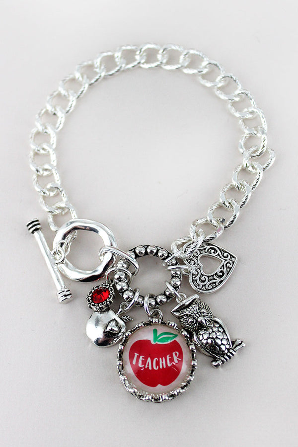 Silvertone 'Teacher' Bubble Charm Cluster Toggle Bracelet