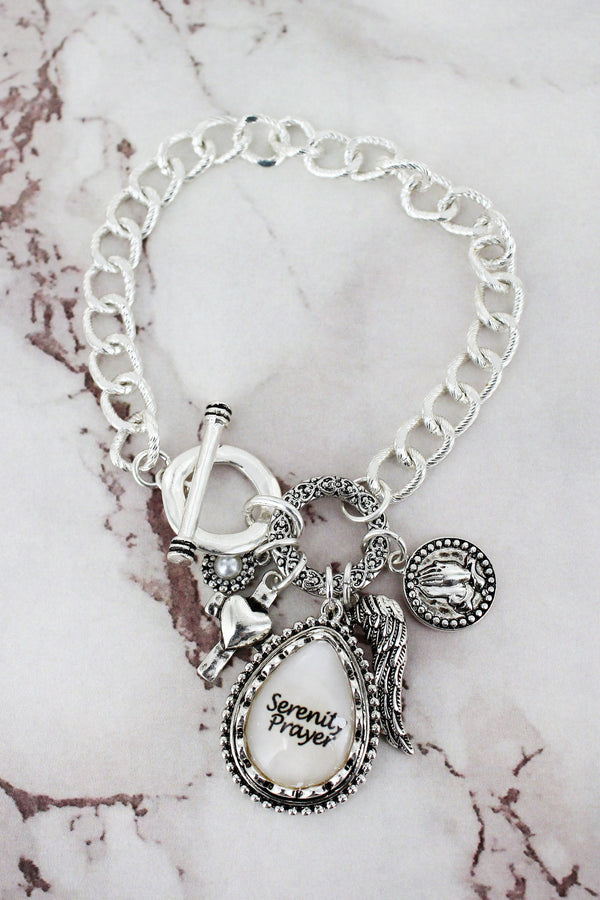 Silvertone 'Serenity Prayer' Bubble Teardrop Cluster Charm Toggle Bracelet