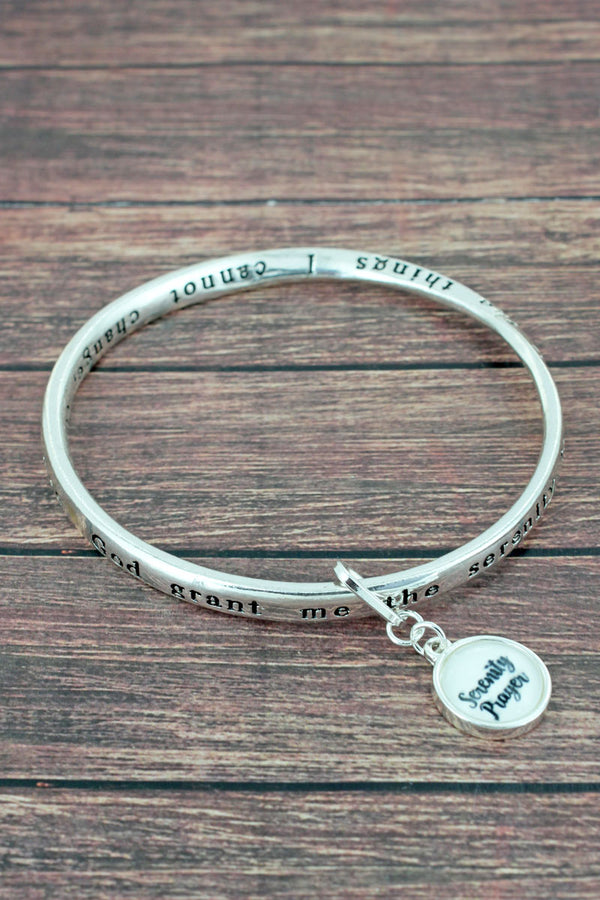 The Serenity Prayer Silvertone Twist Bangle with Bubble Charm