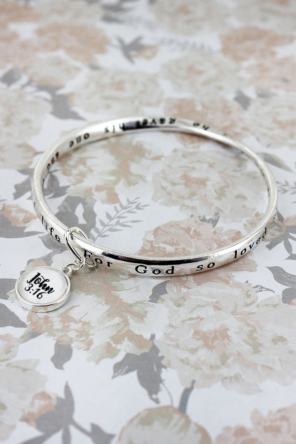 John 3:16 Silvertone Twist Bangle with Bubble Charm