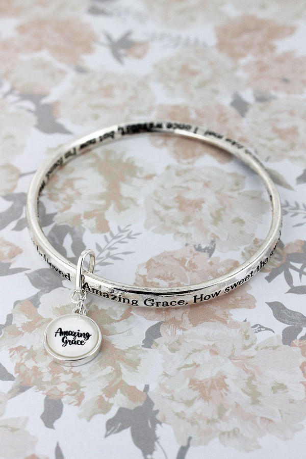 Amazing Grace Silvertone Twist Bangle with Bubble Charm