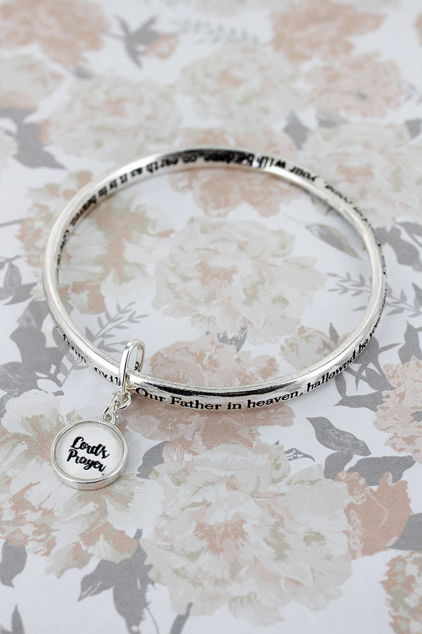 Lord's Prayer Silvertone Twist Bangle with Bubble Charm