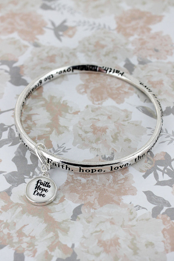 Faith, Hope, Love Silvertone Twist Bangle with Bubble Charm