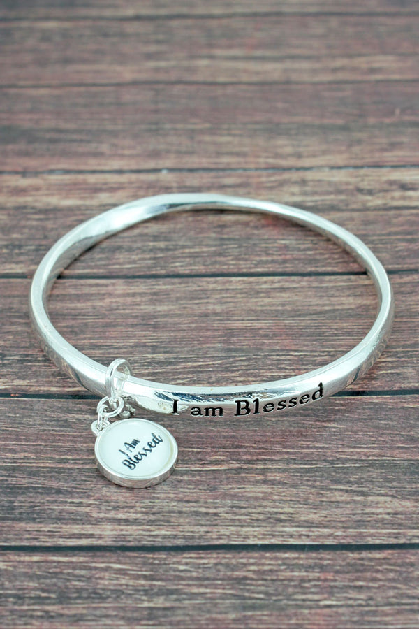 I Am Blessed Silvertone Twist Bangle with Bubble Charm