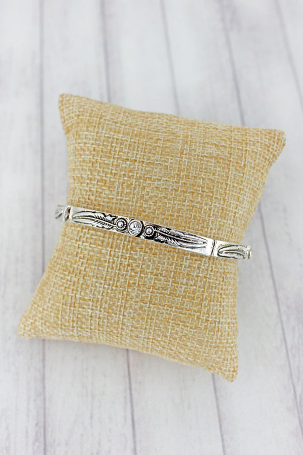 Crystal Accented Silvertone Feather Stretch Bracelet