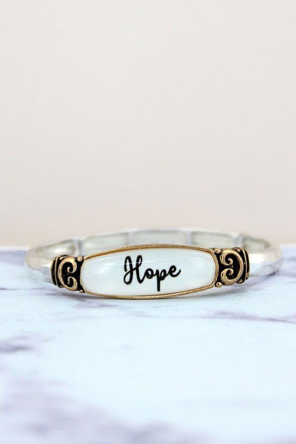 Hope Hammered Two-Tone Stretch Bracelet
