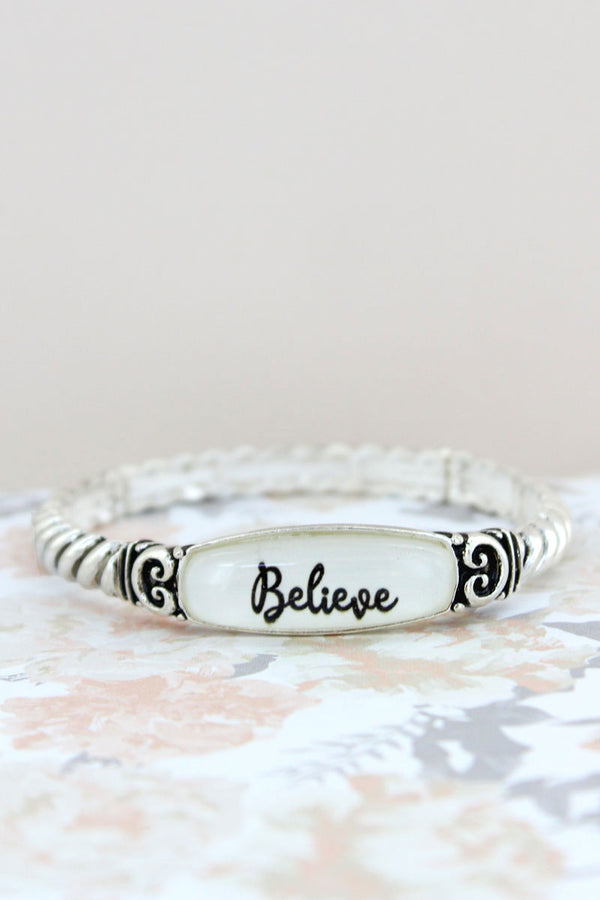 Believe Silvertone Rope Textured Stretch Bracelet