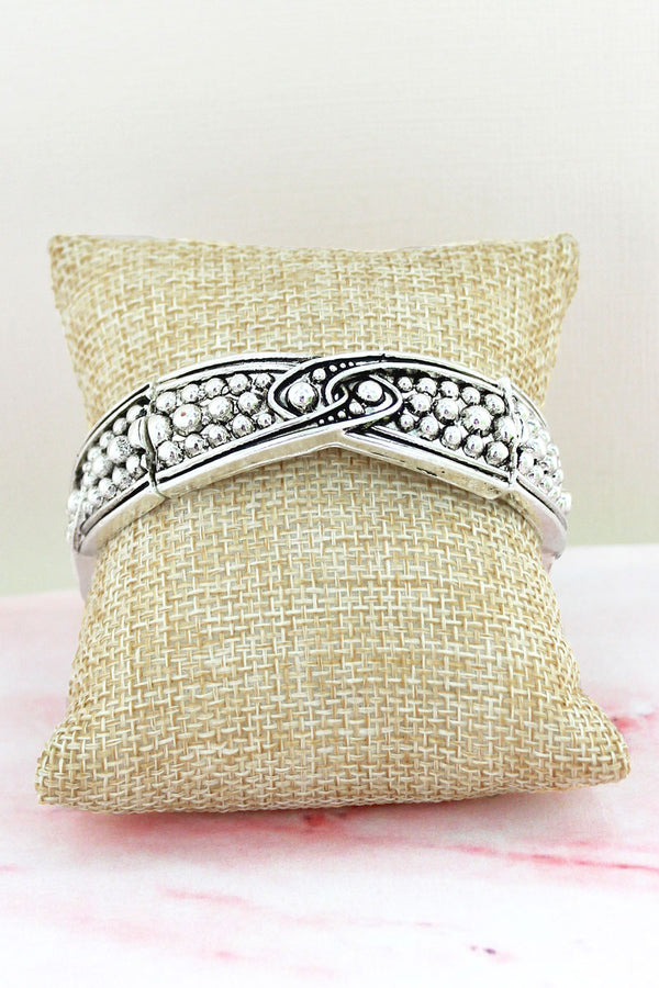 Silvertone Ball Textured Interlocking Stretch Bracelet
