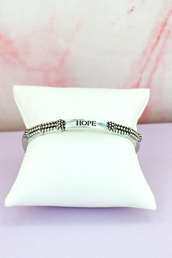 Hope Silvertone Ball Textured Stretch Bracelet