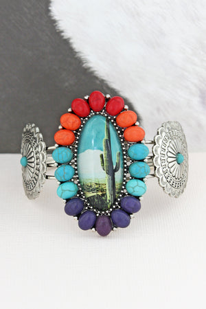 Multi-Color Stone Framed Cactus Bubble Concho Cuff Bracelet