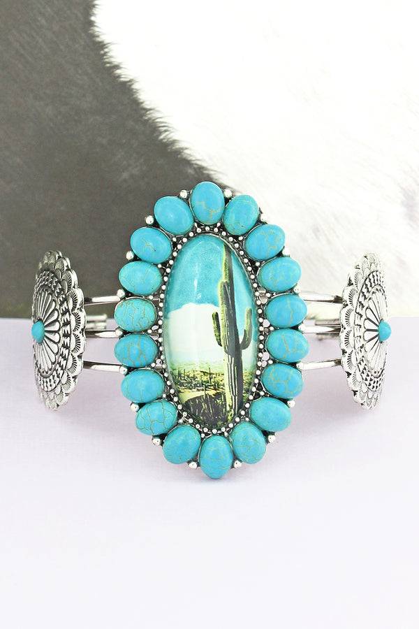 Turquoise Stone Framed Cactus Bubble Concho Cuff Bracelet