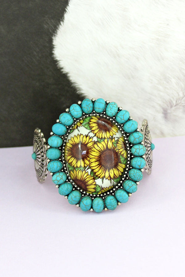 Turquoise Stone Framed Sunflower Bubble Concho Cuff Bracelet