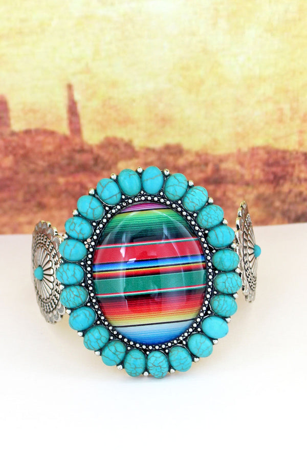 Turquoise Stone Framed Serape Bubble Concho Cuff Bracelet