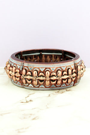 Corpus Christi White Patina Coppertone Stretch Bracelet