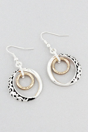 Two-Tone Scroll Double Twisted Loop Earrings #OE1773-TT
