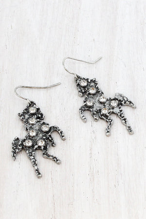 Crystal Accented Burnished Silvertone Horse Earrings