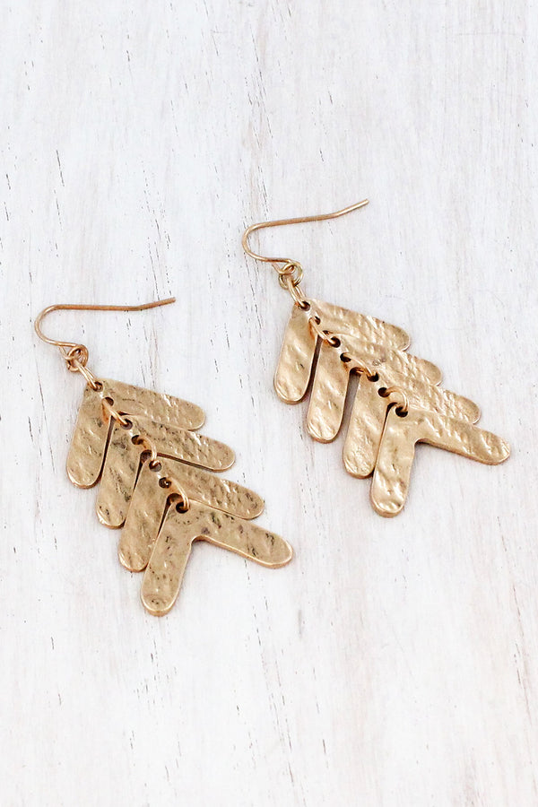 Dangling Worn Goldtone Chevron Earrings
