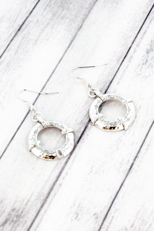 Silvertone Hammered Hoop Earrings