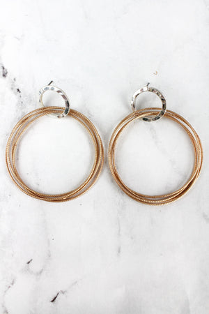 Matte Goldtone Multi-Circle Post Earrings