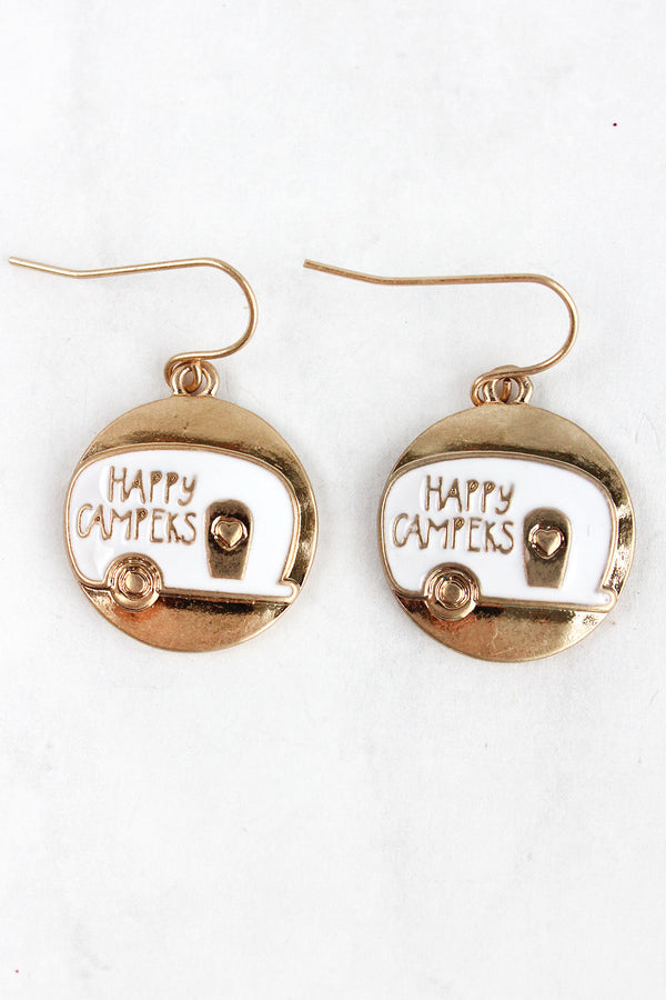 Matte Goldtone and White 'Happy Campers' Disk Earrings