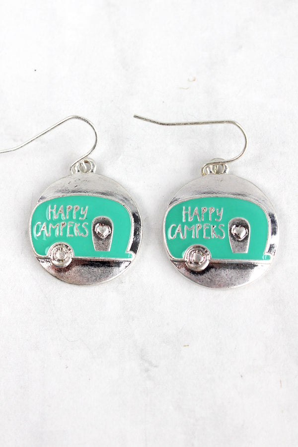 Matte Silvertone and Mint 'Happy Campers' Disk Earrings