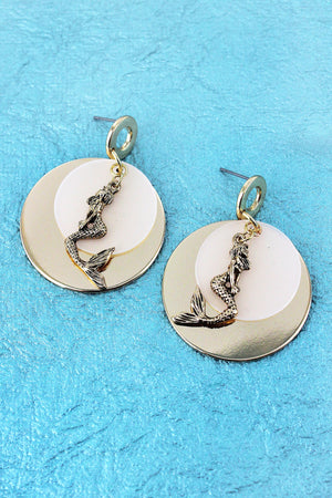 Layered Goldtone and White Mermaid Disk Earrings