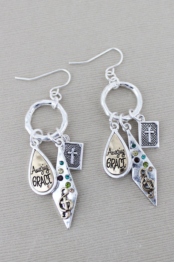 Burnished Two-Tone and Multi-Color Crystal 'Amazing Grace' Charm Earrings